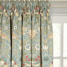 Buy Morris & Co. Strawberry Thief Pair Lined Pencil Pleat Curtains, Duck Egg, x Drop from our Ready Made Curtains & Voiles range at John Lewis & Partners. Types Of Curtains, Green Curtains, Pleated Curtains, Curtains With Blinds, Door Curtains, Hanging Curtains, Lounge Curtains, Curtain Drops, Bathroom