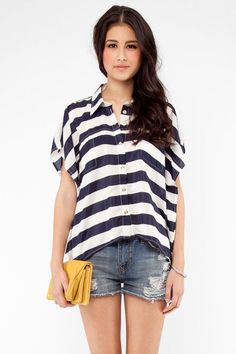 Xtaren Hang Out With Your Batwing Out Striped Blouse