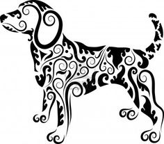 Dog silhouette made of pretty graphics