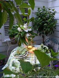 Moonlight and Magnolias, Romantic Table Setting for Two  June  2014