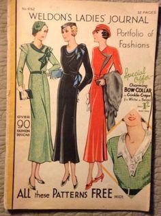 Vintage-1934-Weldon-039-s-Day-Dress-Sewing-Patterns