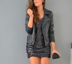 leather jacket + sparkly lbd :)