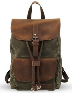 * Premium quality waxed canvas backpack.*Double shoulder straps with a short handle. * Drawstring closure. *Interior zip, wall and cell phone pockets *Ex