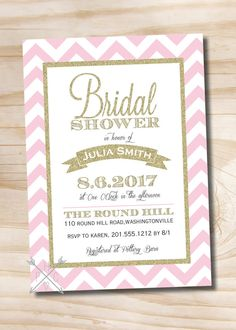 Hey, I found this really awesome Etsy listing at https://www.etsy.com/listing/194139736/pink-gold-glitter-chevron-bridal-shower