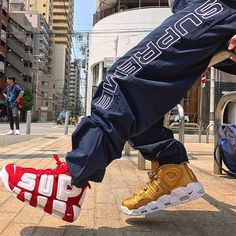 buy online f8852 7b460 How to get Nike UPTEMPO Supreme Metallic Gold shoes