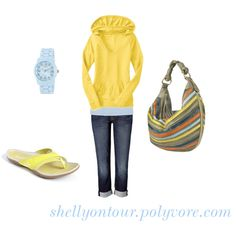 I love the yellow in this.  So bright and cheerful.  A simple look too, but still somehow, put together.