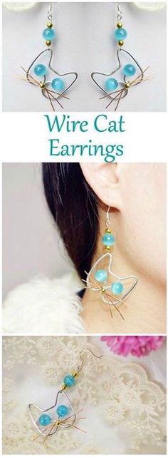 Handmade Cat Jewelry Idea-How to Make Adorable Wire Cat Earrings DIY With Cat Eye Beads These adorable wire cat earrings, made with cat eye beads, involve only simple wire wrapping skills. - My Accessories World Cat Jewelry, Jewelry Crafts, Fine Jewelry, Jewellery Box, Jewelry Making, Jewelry Ideas, Jewlery, Temple Jewellery, Dainty Jewelry