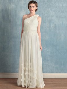 Dress source for future reference  $149/ Sheath/Column One Shoulder Organza Floor-length White Prom Dresses With Hand Made Flower at Msdressy
