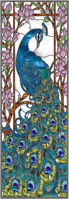 Peacock Door Stained Glass