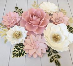Paper Flowers Wall Decor, Blush Pink paper flowers green leaves, Nursery Wall Decor, Bridal Shower Decor, Paper Flowers Backdrop This Paper Flowers Set Includes: 7 paper Medium Small LeavesCOLORS are Paper Flower Wall, Paper Flower Backdrop, Paper Flowers Diy, Flower Wall Decor, Flower Crafts, Butterfly Crafts, Paper Flower Centerpieces, Bridal Shower Centerpieces, Blush Rosa