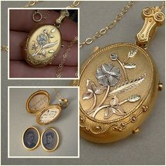 An Authentic 126 Year Old Antique Victorian Locket with Cherished Hand-written Love Notes from 1889 documenting Provenance with Tintype Photographs of