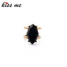 2 PCS/Set New Black Imitation Gems Finger Rings for Women Fashion Jewelry