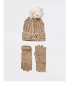 River Island River Island Giftbox Twist Beanie Hat And Gloves - Beige Faux Fur Pom Pom, High Leg Boots, Long Toes, Beanie Hats, Short Skirts, Knitted Fabric, Snug, Winter Hats, Gloves