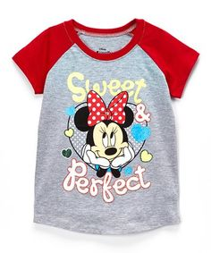 Look what I found on #zulily! Minnie Mouse Heather Gray & Red 'Sweet' Raglan Tee - Toddler #zulilyfinds