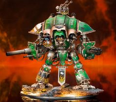 Jason's Imperial Knight Crusader Incus Infernus was painted to match the rest of his Salamanders collection. The Knight features the Chapter's Firedrake icon on the shoulder and the number of the XVIII Legion on its tilting shield.