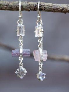 Blush // Mismatched Unicorn Earrings with morganite, tanzanite and raw tourmaline crystal
