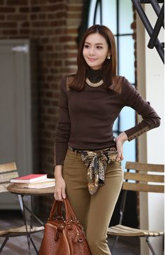 Korean Fashion Women's Solid Long Sleeve T-Shirt Brown - BuyTrends.com