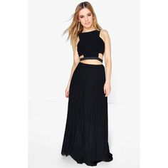 Boohoo Petite Petite Rachel Pleated Chiffon Maxi Skirt (45 CAD) ❤ liked on Polyvore featuring skirts, black, body con skirt, mid calf skirts, bodycon midi skirt, petite skirts and pleated chiffon skirt