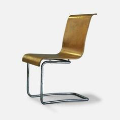 Alvar Aalto; Chromed Tubular Metal and Molded Plywood Stacking Chair, 1930.