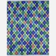Feathers - 1957 - Rounded diamond shapes overlapping each other in columns and rows to form an argyle-like pattern. The colors are translucent so the overlapped areas show as darker or mixed colors. Printed in brown, dark blue, light blue, dark green, and light green on white. Serged on all sides.