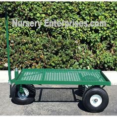 3 Wheeled Wagon Expanded Steel Flat Mesh Deck With Tall Pneumatic Wheels A 1 Lip All Around Nursery Enterprises Carts