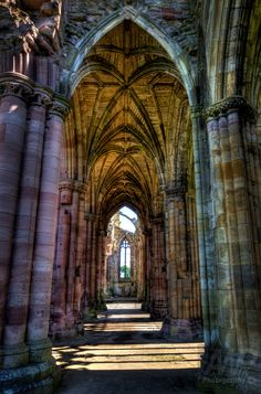 Melrose Archways, St Mary's Abbey ~ is a partly ruined monastery of the Cistercian order, Scotland