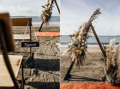 The autumnal toned florals were perfect in the late afternoon light & Lesa & Josh's beachside ceremony was idyllic.