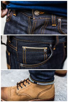 Mens Casual Jeans, Denim Shirt With Jeans, Love Jeans, Nudie Jeans, Jeans Pants, Mode Outfits, Jean Outfits, Fashion Outfits, Red Wing Boots