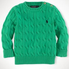 Image of Ralph Lauren Infant Boys Classic Cable-Knit Crewneck Blouse
