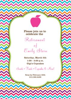 Big Apple Teacher Retirement Party Invitations  Retirement Parties