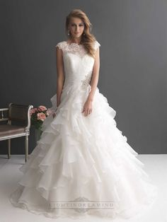 Cap Sleeves Ruffled Layered Ball Gown Wedding Dresses with Ruched Band