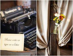 "Vintage Typewriter At Wedding    Michelle New York Brides'- Wedding Day featuring Leslie & Ben as seen on ""Rustic Wedding Chic"" Blog. (www.rusticwedding...)"