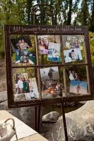 Window frame picture collage. Love it so need to do one of these