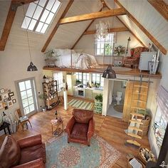 Here are 40 of our best picks for most beautiful loft living spaces! Read what is a loft apartment and loft style. Get ideas for your loft homes. Tiny House Living, Home And Living, Bus Living, Living Room, Cottage House, Rustic Cottage, Simple Living, Sweet Home, Bedroom Loft