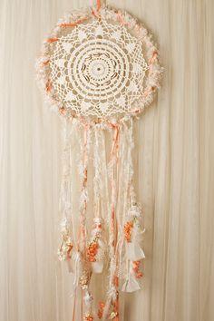 Large Handmade Floral Peach&Cream Dream by DecoratedBohemian