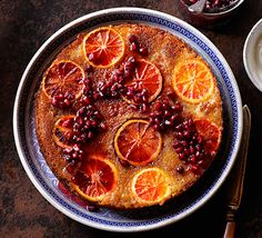 Blood orange, blossom & pomegranate cake: This stunning fruity bake has a whole orange whizzed into the batter, and is drizzled with a zingy, sticky syrup
