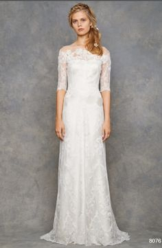 Bridal Gowns: David Fielden Sheath Wedding Dress with Illusion Neckline and No Waist/Princess Seams Waistline