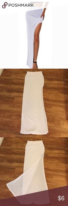 White  Maxi Skirt with High Slit -Size Small White Bodycon Maxi Skirt with High Slit -Size Small. Thin material, tight fit. Perfect for summer. Skirts Maxi