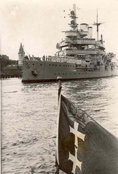 11 in pre-dreadnought Schleswig-Holstein at Danzig (now Gdansk) in early 1939: one of the 8 obsolete capital ships Germany was permitted to retain for coastal defence after WW1, she was to fire the first shots of WW2 against Polish shore defences on 1 September that year.