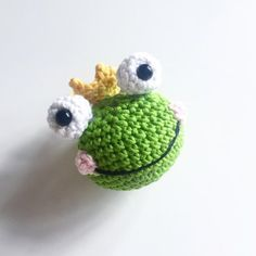 Crocheted Prince Frog Keyring Crochet pattern by CatKnit