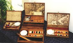Three boxed art sets that I made. Art Supply Box, Native American Art, American Women, American Indians, American History, Cigar Box Projects, Box Art, Art Boxes, Pochade Box