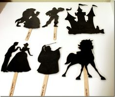 Character Silhouettes for our Shadow Puppet Theatre