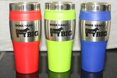 Stainless steel with colored plastic components and a slider lid to keep your liquids where they belong. Plastic interior holds 16 oz of hot or