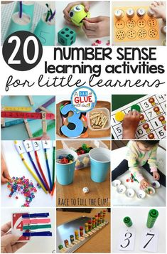 Numbers and counting is such a fun topic to teach! There are tons of great manipulatives to use and it's a great way to give good base knowledge to kids that will use it all their lives. Here are some of the best number sense activities for little learner Teaching Numbers, Numbers Preschool, Preschool Learning, Kindergarten Activities, Kindergarten Classroom, Numbers Kindergarten, Preschool Curriculum, Toddler Learning, Elementary Math