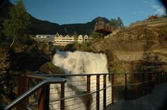 From the new Waterfall Walk in #Geiranger Norway. The Union Hotel at the top of the walk. Photo: bestnorwegian.com