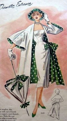 Polka Dot Dresses: 2019 Polka Dot Dresses: Polka dot lined jacket umbrella hat and dress. white sheath dress outfit suit color illustration vintage fashion The post Polka Dot Dresses: 2019 appeared first on Vintage ideas. Retro Mode, Vintage Mode, Look Vintage, 50s Vintage, 1950s Style, Retro Style, Art Deco Fashion, Retro Fashion, Fashion Vintage