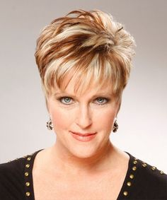 Hairstyles For Women Over 60 Rounded Super Short Two Tone Red & Blonde