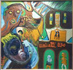 Eine Malerei des italienischen Art-Brut-Malers Ugo Mainetti, *1945, der ursprünglich Metzger war. Metzger, Art Brut, Girl Model, Painting, Pictures, Painting Art, Paintings, Painted Canvas, Drawings