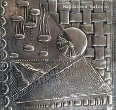 Good Hearted responded awesome metal projects my sources Pewter Art, Pewter Metal, Copper Metal, Metal Projects, Metal Crafts, Craft Robo, Metal Embossing, Foil Art, Create Words