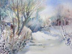 Chemin de la Longue Rue - Peinture © 2009 par Reine-Marie Pinchon - Peinture contemporaine, Auvers sur oise chemin GR hiver neige balade arbres